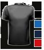 T-Shirt farbig mit rundem Halsausschnitt, hinten farbig bedruckt mit Ihrem Motiv
